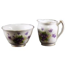 Spencer Stevenson Co Ltd Individual Open Sugar and Creamer with Violets