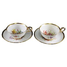 Hammersley Pair of Footed Demitasse Cup and Saucers Howard Sprays