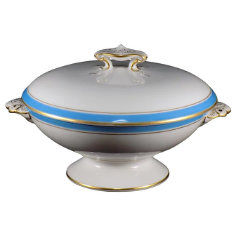 Blue and White Covered Dish with Gold Colored Accent