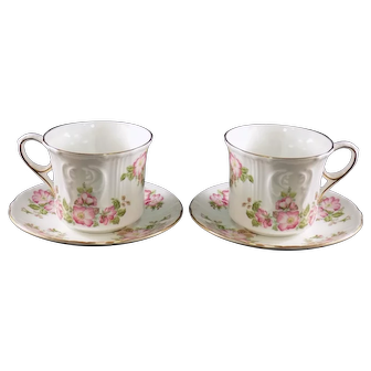 Royal Grafton Footed Cup and Saucer, Set of 2, Wild Rose Pattern