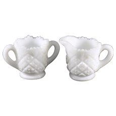 Westmoreland Thumbelina Milk Glass Miniature Sugar and Creamer Set