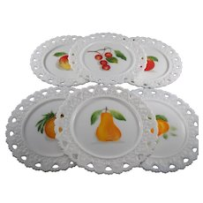 Kemple Lacy Edge Inverted Heart Hand Painted Plates with Fruit Design Set of 6
