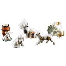 Set of 5 Dog Figurines - Japan and Occupied Japan
