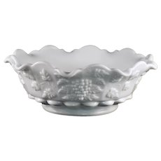 Westmoreland Milk Glass Paneled Grape Crimped Bowl