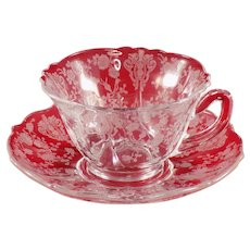 Cambridge Rose Point Clear Cup and Saucer Set