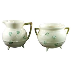 Belleek Shamrock Open Sugar and Creamer