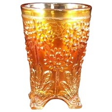 Fenton Carnival Glass Orange Tree Footed Tumbler in Marigold