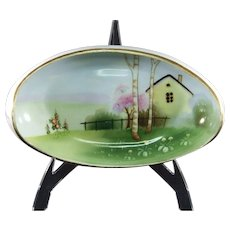 Early Noritake Hand-painted Nippon Dish with Landscape Scene
