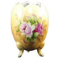 Lefton Brown Heritage Floral Egg Vase 5068