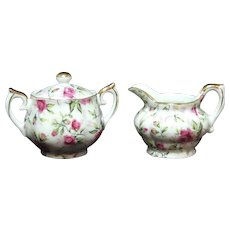 Lefton Japan Miniature Sugar and Creamer Rose Chintz 794R