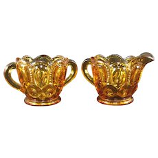 L E Smith Moon and Stars Amber Sugar and Creamer Set