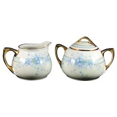 RS Tillowitz Blue Floral Sugar and Creamer