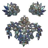 Crown Trifari 1961 Etoile Brooch and Earrings Set