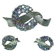 Coro Aurora Borealis Brooch and Earring Set