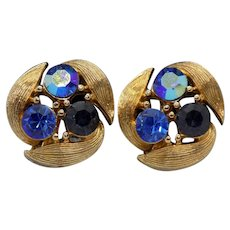 Lisner Goldtone and Blue Rhinestone Clip Earrings