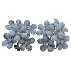 Coro Blue Double Layer Flower Clip Earrings