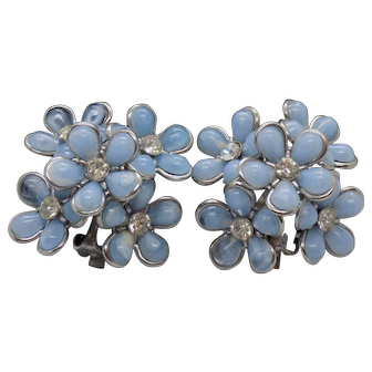 Coro Blue Double Layer Flower Clip Earrings