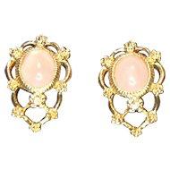 Avon Genuine Rose Quartz Pierced Earrings in Original Box