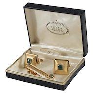 Swank Genuine Jade Cufflinks and Tie Clasp in Original Box
