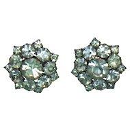 Unsigned Clear Rhinestone Clip Earrings