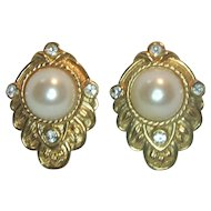 Kenneth J. Lane for Avon Faux Pearl Pierced Earrings