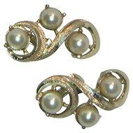 Coro Faux Pearl Clip Earrings