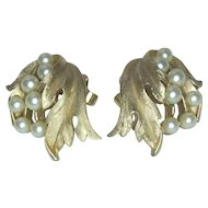 Crown Trifari Faux Pearl and Leaf Clip Earrings