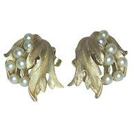 Crown Trifari Faux Pearl and Leaf Clip Earrings