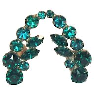 Unsigned Green Rhinestone Clip Earrings
