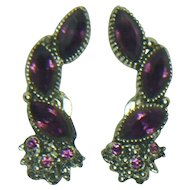Unsigned Dark Purple Clip Earrings