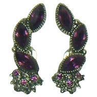 Unsigned Dark Purple Clip Earrings