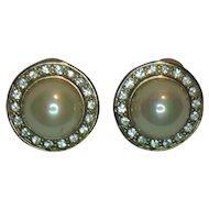 HB Faux Pearl and Clear Rhinestone Pierced Earrings
