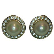 HB Faux Pearl and Clear Rhinestone Pierced Earrings