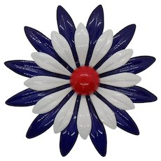 Unsigned Enamel Red, White, and Blue Flower Pin