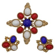 Sarah Coventry 1971 Americana Pin and Earring Set