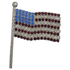 Unsigned American Flag Pin with Red, Blue, and Clear Rhinestones