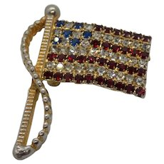 Rafaelian American Flag Pin with Red, Blue, and Clear Rhinestones