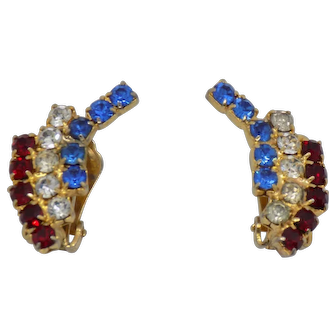 Weiss Red, White, and Blue Clip Earrings