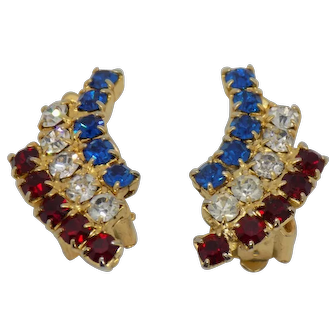 Unsigned Patriotic Red, Clear, and Blue Clip Earrings