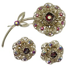 Sarah Coventry 1961 Fashion Flower Brooch and Dainty Earring Set