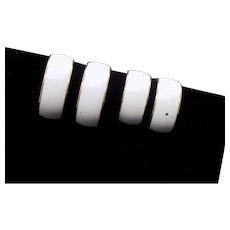 Monet White Enamel Wide Hoop Clip Earrings - 2 Pair