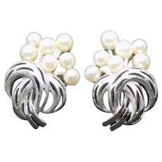 Crown Trifari Silvertone and Faux Pearl Clip Earrings