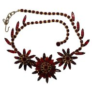 Unsigned Ruby Red Rhinestone Necklace