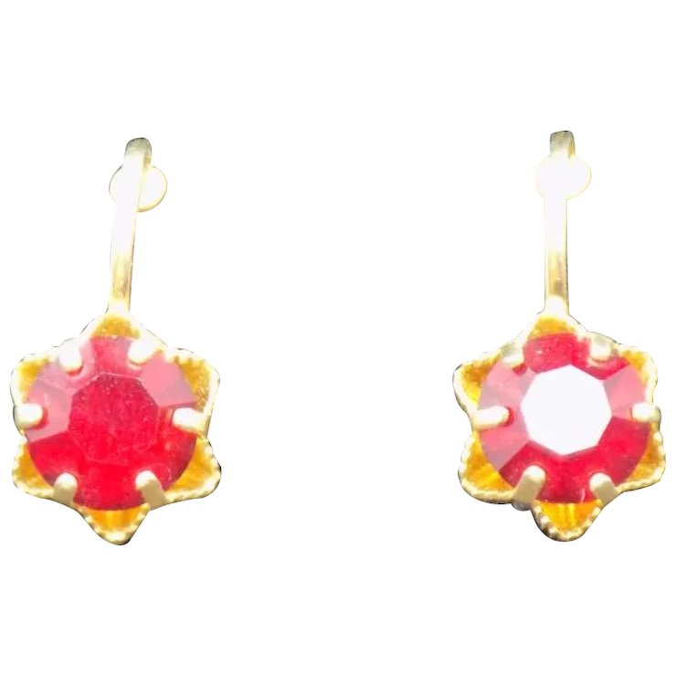Austria Clip Earrings With Ruby Red Rhinestone