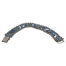Unsigned Blue Rhinestone Bracelet