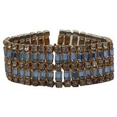 Unsigned Crystal and Blue Rhinestone Bracelet