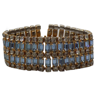 Unsigned Crystal and Blue Rhinestone Bracelet