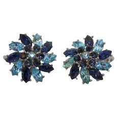 Crown Trifari Flower Motif Clip Earrings