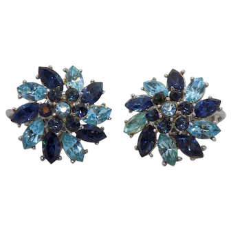 Crown Trifari Flower Motif Clip Earrings