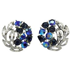 Lisner Silvertone and Blue Screwback Earrings